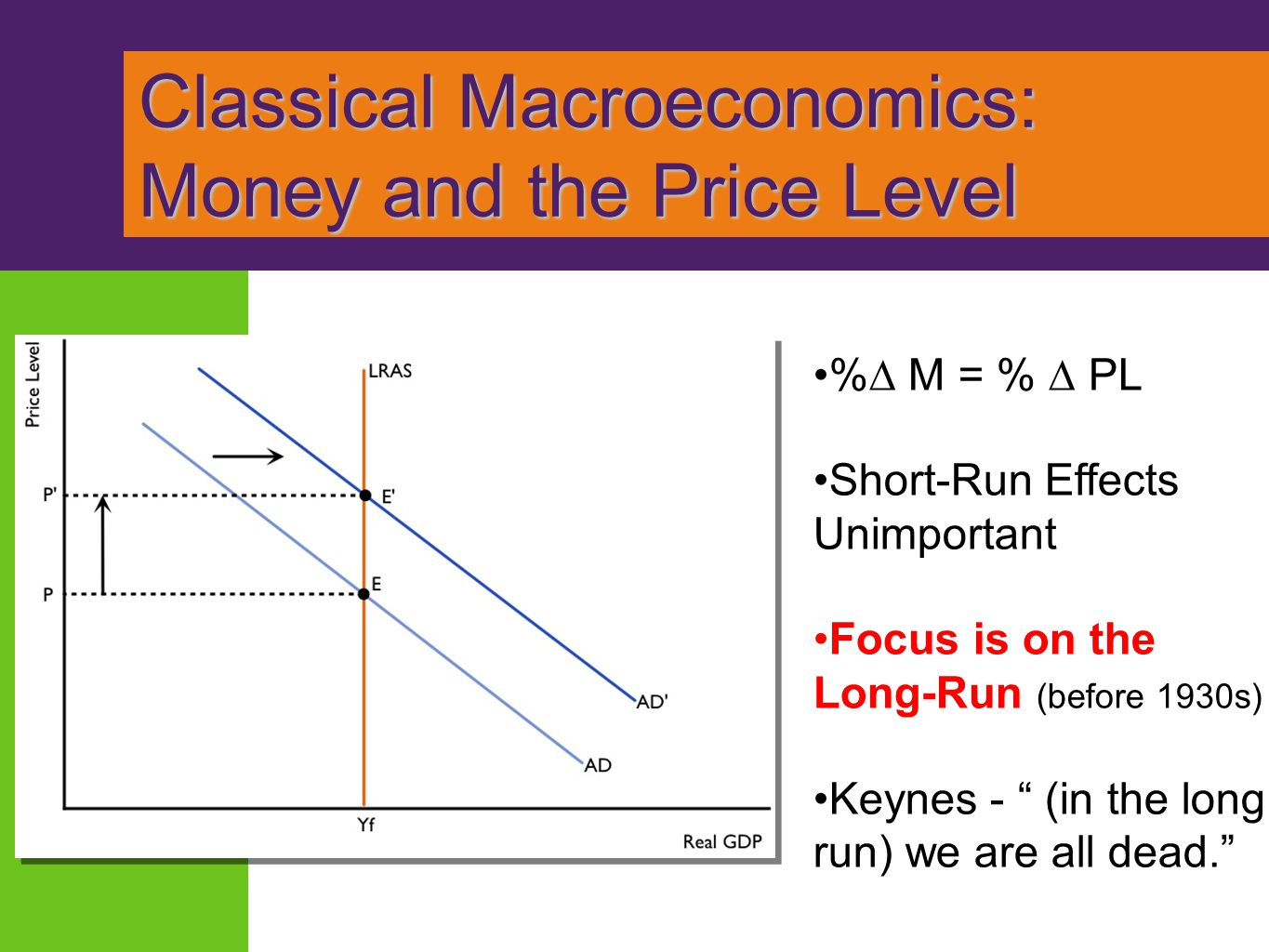 Classical Macroeconomics: Money and the Price Level Classical Macroeconomics: Money and the Price Level %∆ M = % ∆ PL Short-Run Effects Unimportant Fo