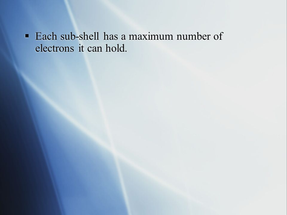  1st shell 1s  2nd shell 2s 2p  3rd shell 3s 3p 3d  4th shell 4s 4p 4d 4f  Each shell or energy level has one more sub-shell than the previous one  1st shell 1s  2nd shell 2s 2p  3rd shell 3s 3p 3d  4th shell 4s 4p 4d 4f