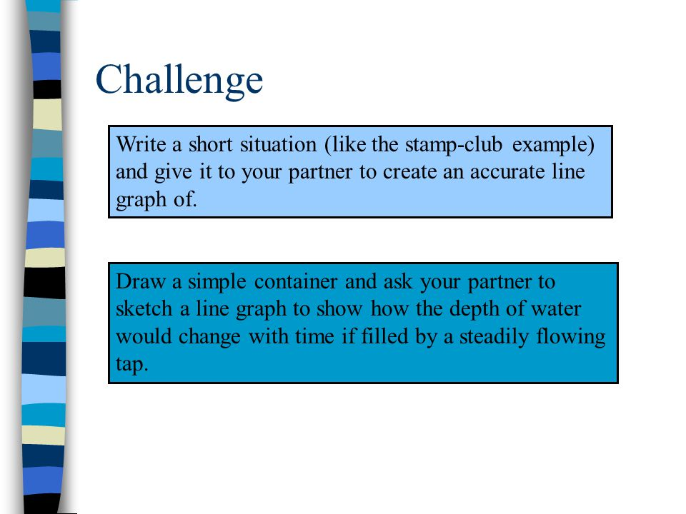Write a short situation (like the stamp-club example) and give it to your partner to create an accurate line graph of.