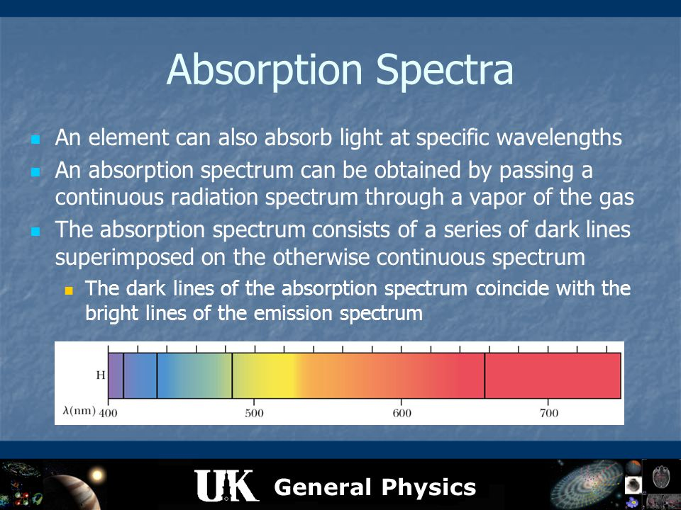 General Physics Absorption Spectra An element can also absorb light at specific wavelengths An absorption spectrum can be obtained by passing a contin