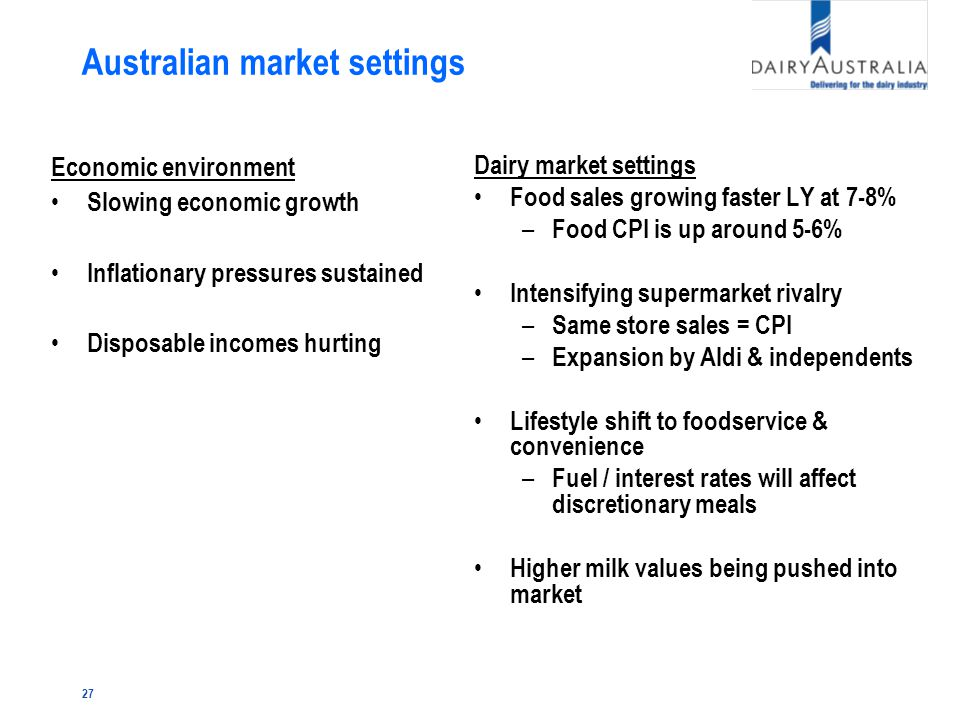 27 Australian market settings Economic environment Slowing economic growth Inflationary pressures sustained Disposable incomes hurting Dairy market settings Food sales growing faster LY at 7-8% – Food CPI is up around 5-6% Intensifying supermarket rivalry – Same store sales = CPI – Expansion by Aldi & independents Lifestyle shift to foodservice & convenience – Fuel / interest rates will affect discretionary meals Higher milk values being pushed into market