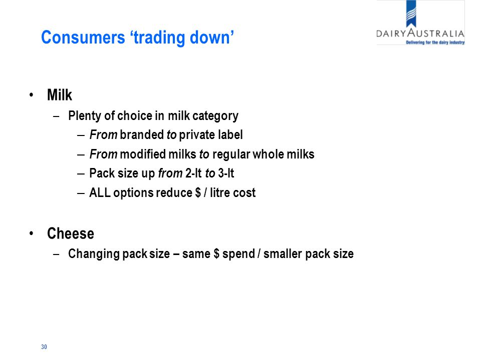 30 Consumers 'trading down' Milk – Plenty of choice in milk category – From branded to private label – From modified milks to regular whole milks – Pack size up from 2-lt to 3-lt – ALL options reduce $ / litre cost Cheese – Changing pack size – same $ spend / smaller pack size