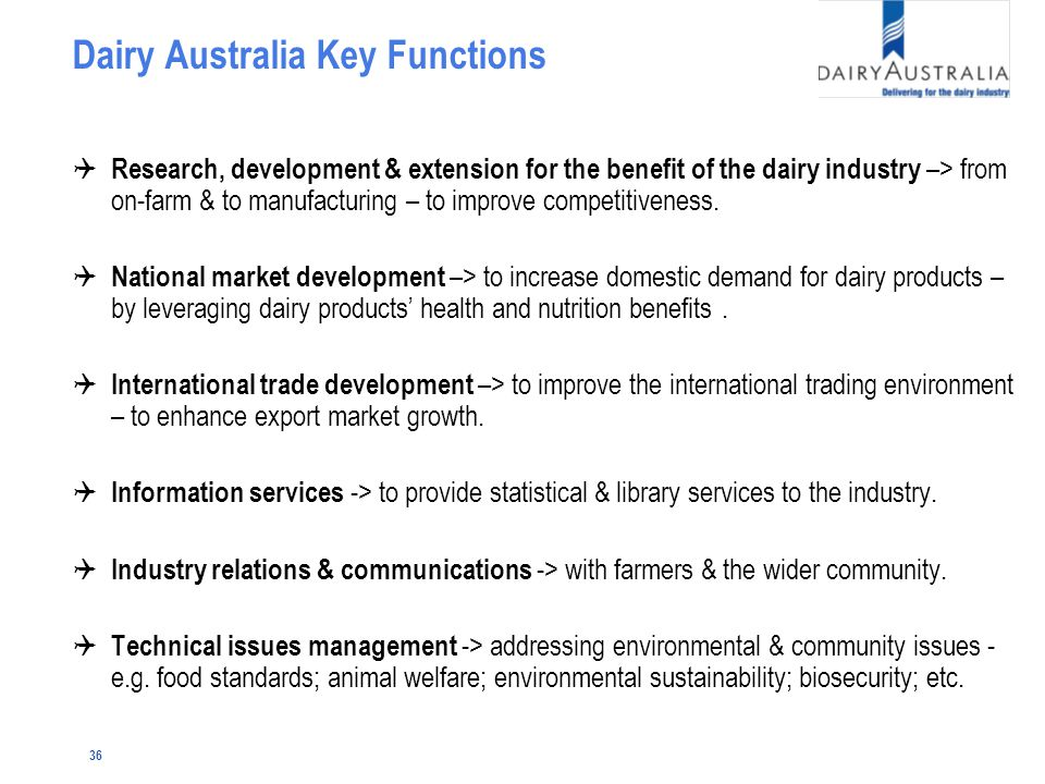 36 Dairy Australia Key Functions Q Research, development & extension for the benefit of the dairy industry –> from on-farm & to manufacturing – to improve competitiveness.