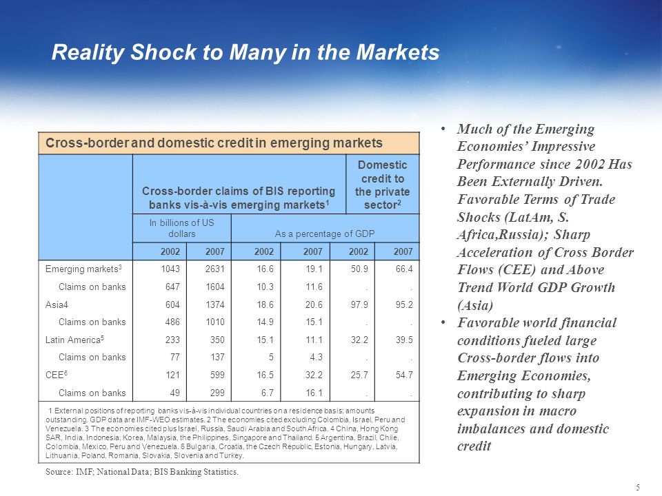 5 Reality Shock to Many in the Markets Cross-border and domestic credit in emerging markets Cross-border claims of BIS reporting banks vis-à-vis emerging markets 1 Domestic credit to the private sector 2 In billions of US dollarsAs a percentage of GDP 200220072002200720022007 Emerging markets 3 1043263116.619.150.966.4 Claims on banks647160410.311.6..
