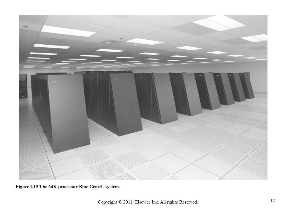 12 Copyright © 2011, Elsevier Inc. All rights Reserved. Figure I.19 The 64K-processor Blue Gene/L system.