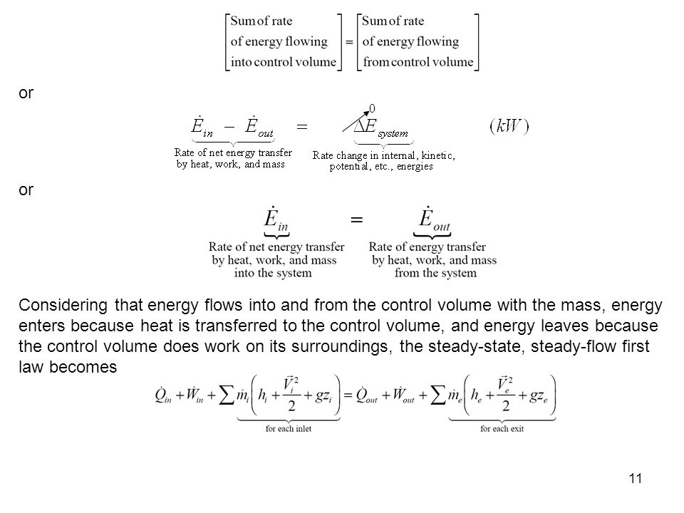 11 0 or Considering that energy flows into and from the control volume with the mass, energy enters because heat is transferred to the control volume,