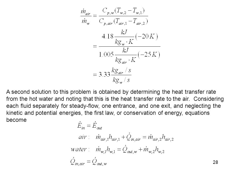 28 A second solution to this problem is obtained by determining the heat transfer rate from the hot water and noting that this is the heat transfer ra