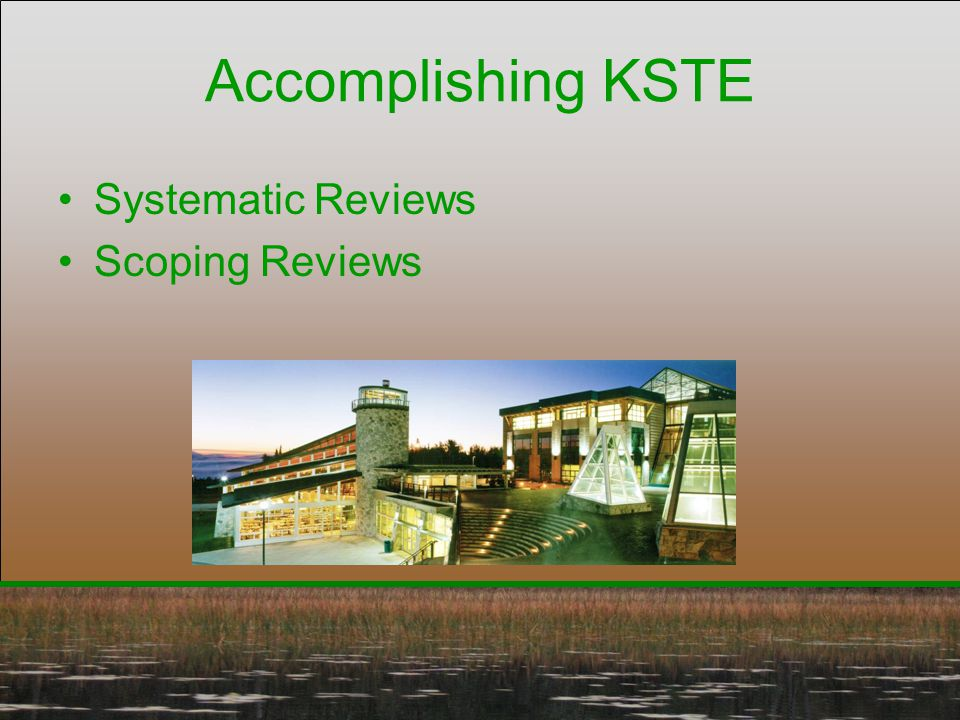 Accomplishing KSTE Systematic Reviews Scoping Reviews