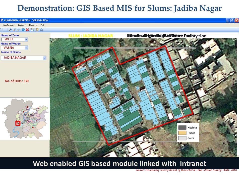 WEST VASNA JADIBA NAGAR Status of Housing StructureHuts having Individual Toilet FacilityHuts having Individual Water Connection Demonstration: GIS Based MIS for Slums: Jadiba Nagar No.