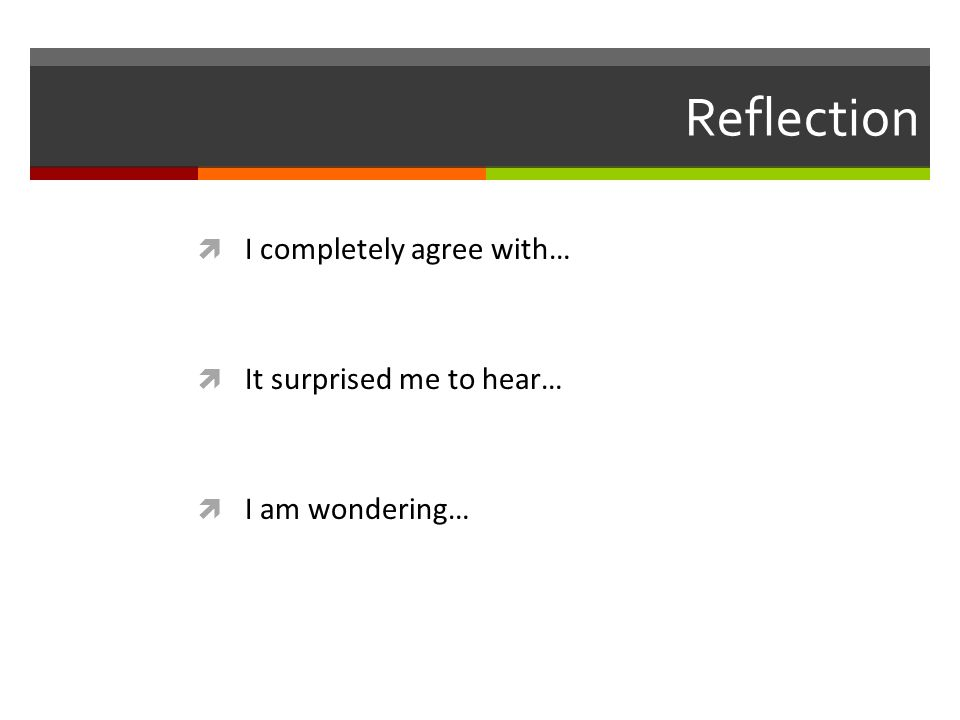 Reflection  I completely agree with…  It surprised me to hear…  I am wondering…