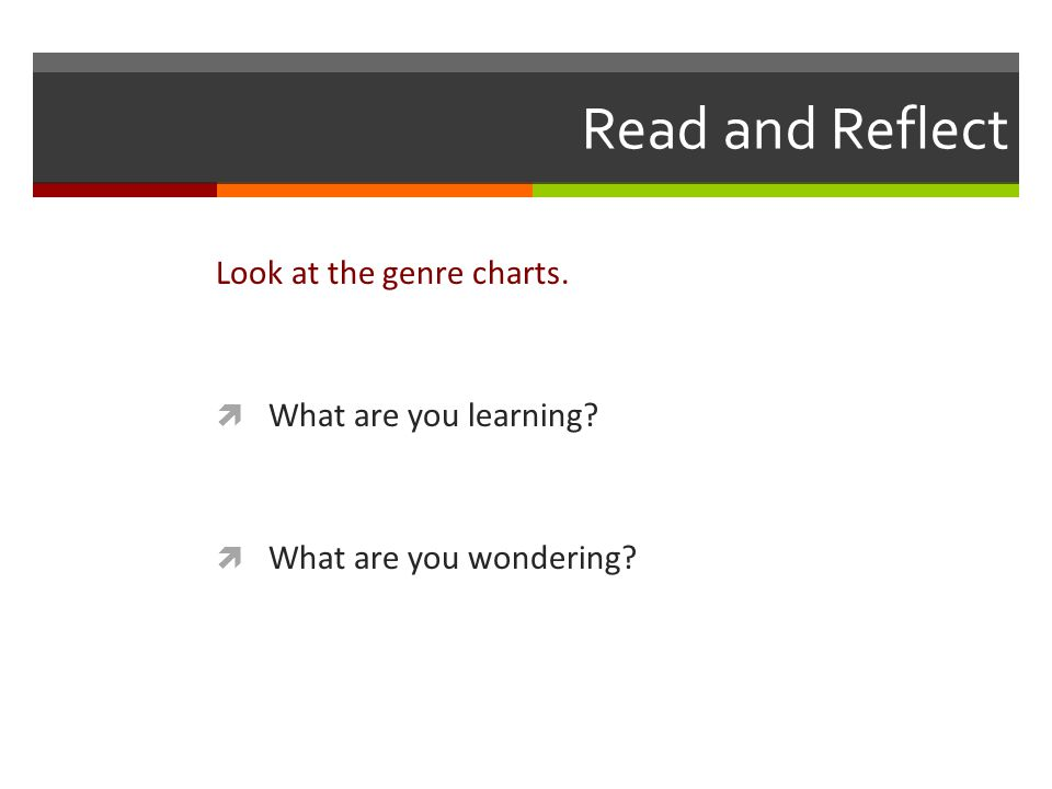 Read and Reflect Look at the genre charts.  What are you learning  What are you wondering