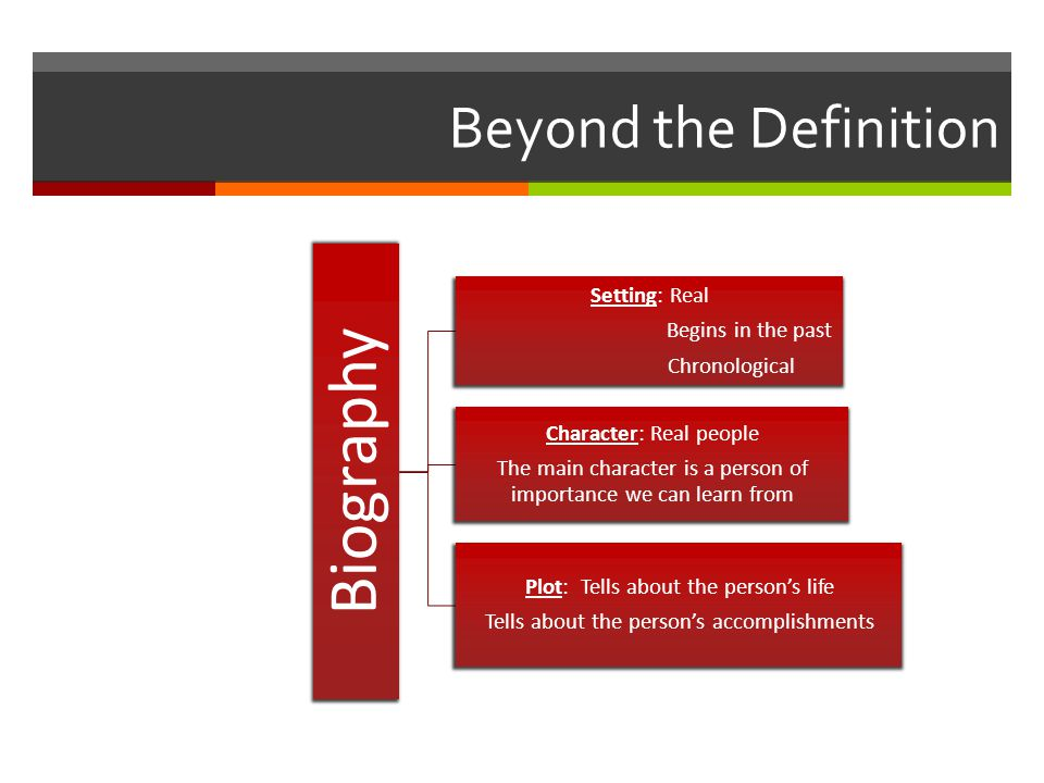 Beyond the Definition Biography Setting: Real Begins in the past Chronological Character: Real people The main character is a person of importance we can learn from Plot: Tells about the person's life Tells about the person's accomplishments