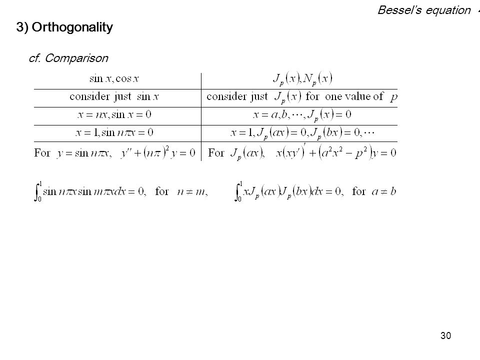 30 3) Orthogonality cf. Comparison Bessel's equation 4