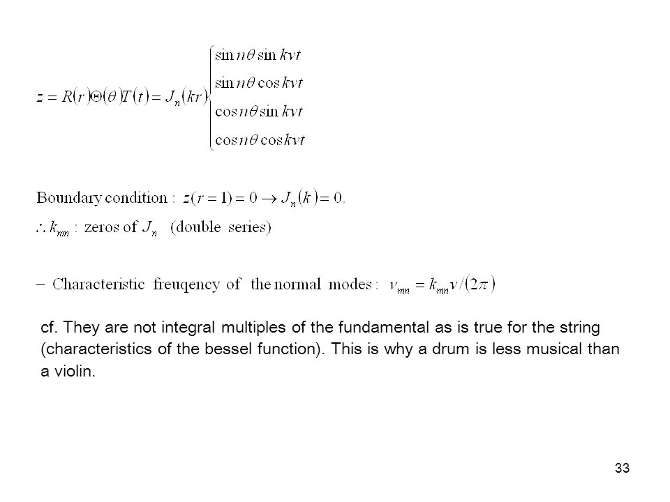 33 cf. They are not integral multiples of the fundamental as is true for the string (characteristics of the bessel function). This is why a drum is le