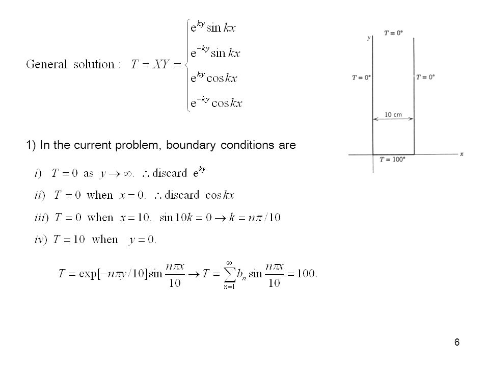 6 1) In the current problem, boundary conditions are
