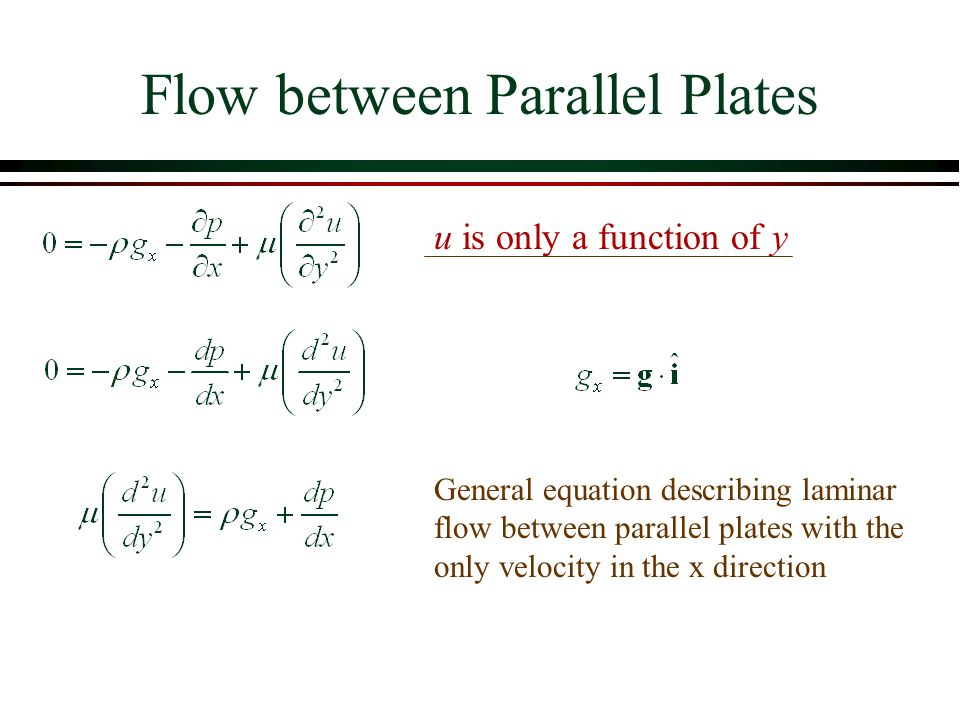 Flow between Parallel Plates General equation describing laminar flow between parallel plates with the only velocity in the x direction u is only a fu