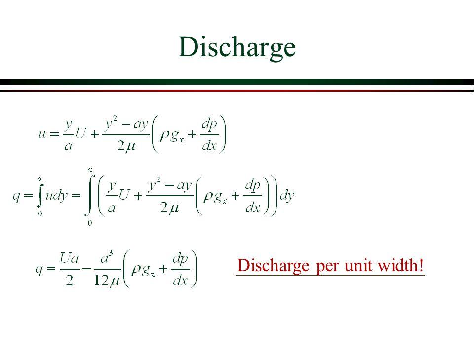 Discharge per unit width! Discharge