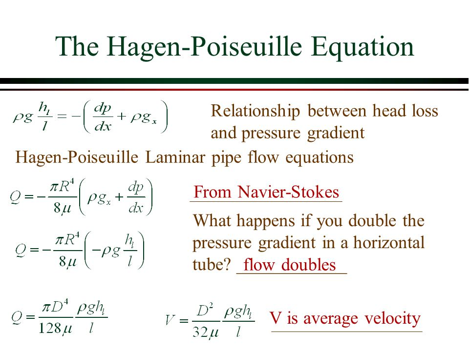 The Hagen-Poiseuille Equation Hagen-Poiseuille Laminar pipe flow equations From Navier-Stokes Relationship between head loss and pressure gradient Wha