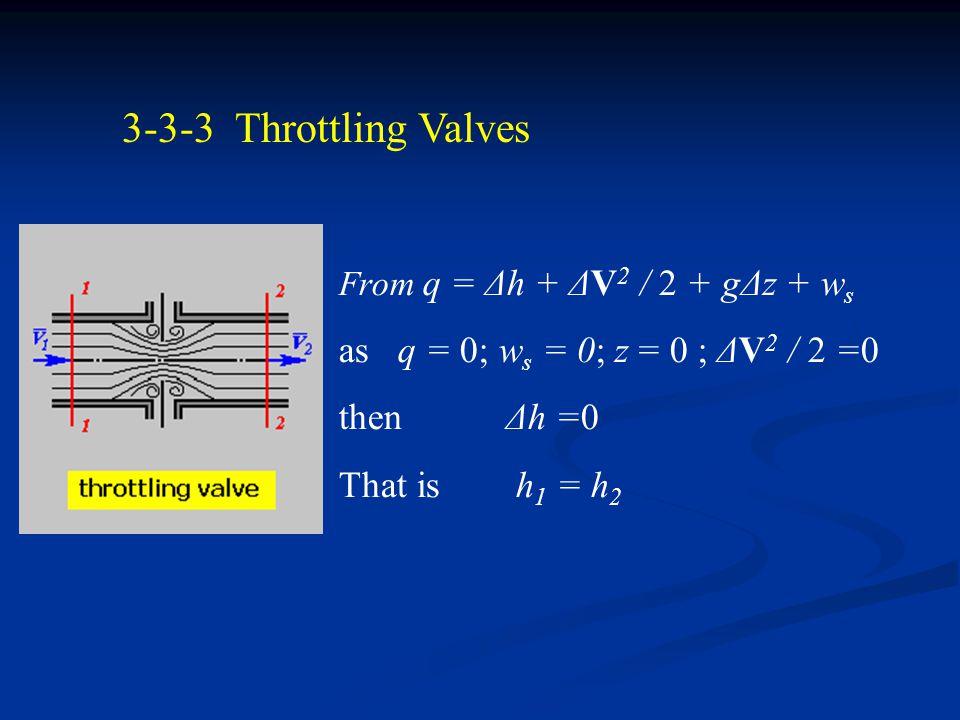 3-3-2 Steam Turbine from q = Δh + ΔV 2 / 2 + gΔz + w s if q = 0; Δc = 0; Δz = 0 then w s = -Δh = h 1 - h 2