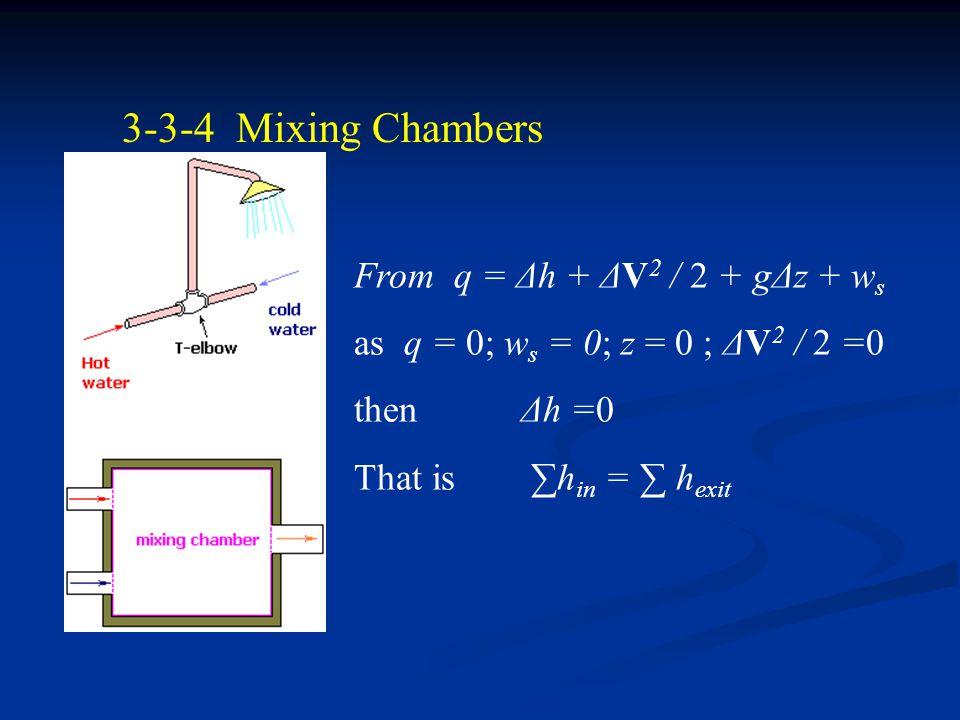 3-3-3 Throttling Valves From q = Δh + ΔV 2 / 2 + gΔz + w s as q = 0; w s = 0; z = 0 ; ΔV 2 / 2 =0 then Δh =0 That is h 1 = h 2