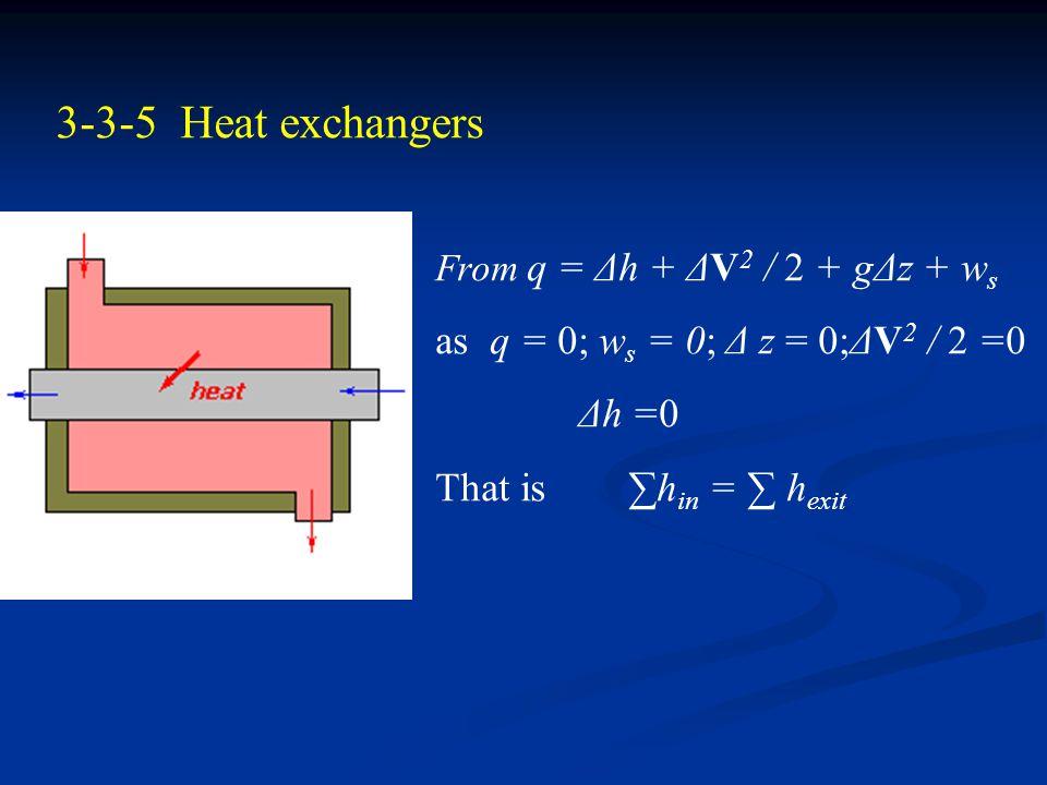 3-3-4 Mixing Chambers From q = Δh + ΔV 2 / 2 + gΔz + w s as q = 0; w s = 0; z = 0 ; ΔV 2 / 2 =0 then Δh =0 That is ∑h in = ∑ h exit