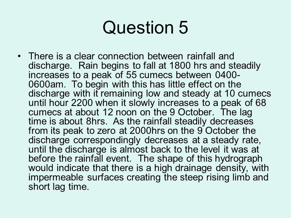 Question 6 The description should stress the production of distinctive land forms e.g.