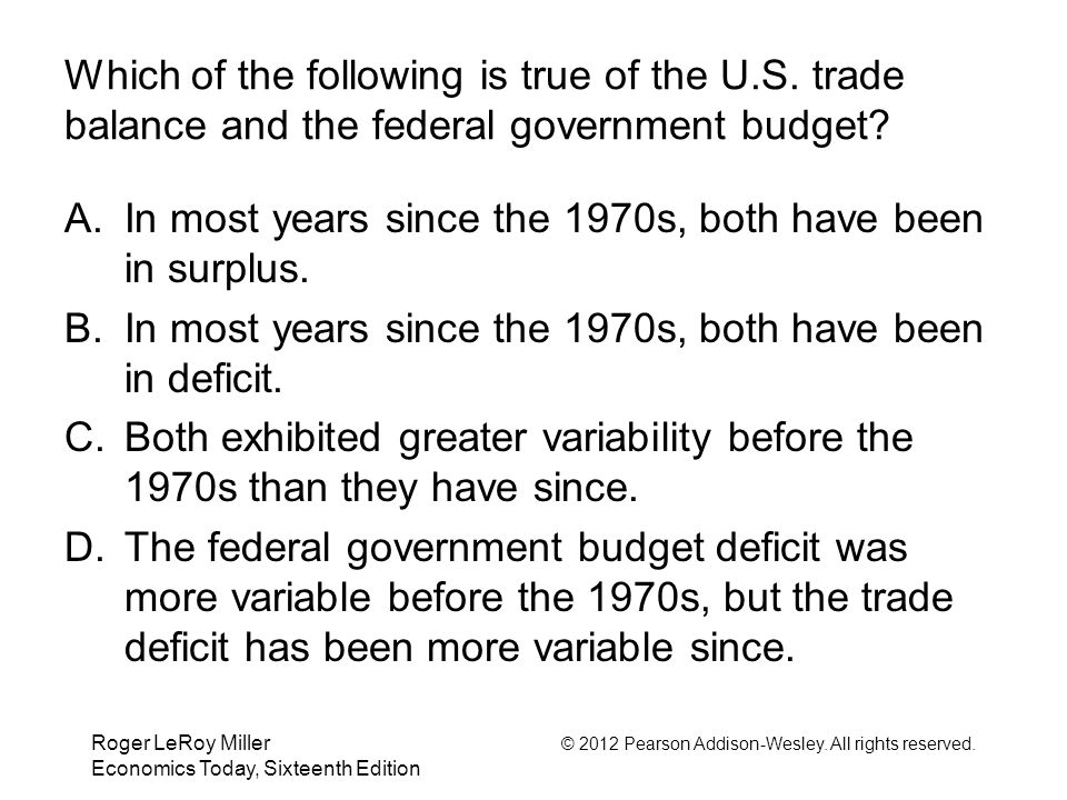 Roger LeRoy Miller © 2012 Pearson Addison-Wesley. All rights reserved. Economics Today, Sixteenth Edition Which of the following is true of the U.S. t