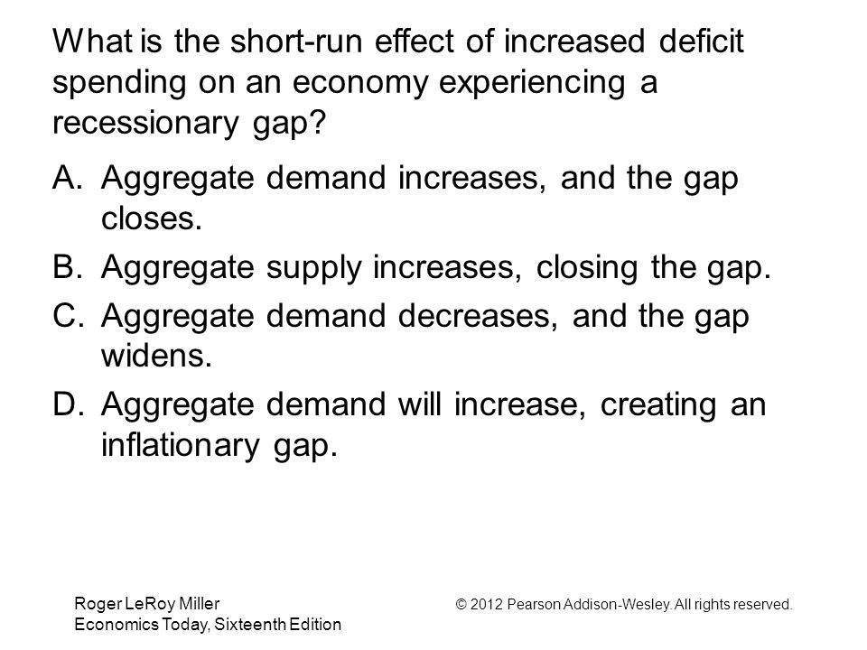 Roger LeRoy Miller © 2012 Pearson Addison-Wesley. All rights reserved. Economics Today, Sixteenth Edition What is the short-run effect of increased de