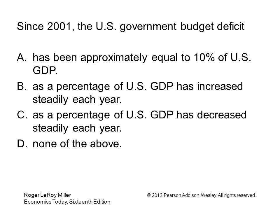 Roger LeRoy Miller © 2012 Pearson Addison-Wesley. All rights reserved. Economics Today, Sixteenth Edition Since 2001, the U.S. government budget defic