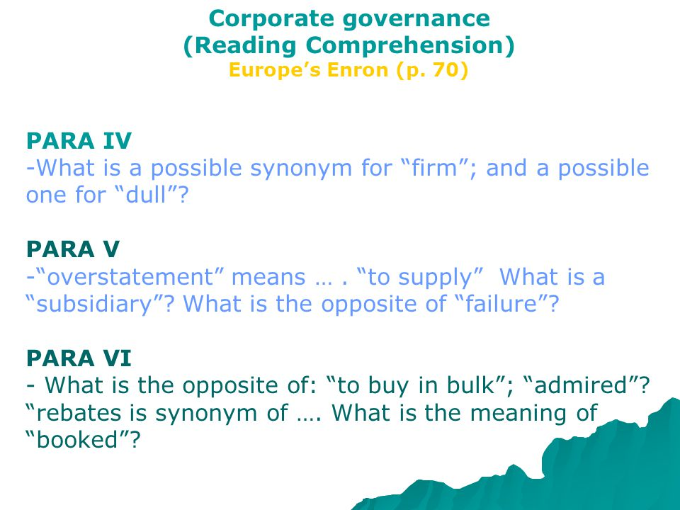 Corporate governance (Reading Comprehension) Europe's Enron (p.
