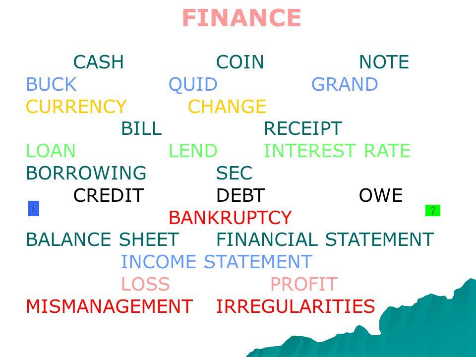 FINANCE CASHCOINNOTE BUCKQUIDGRAND CURRENCY CHANGE BILL RECEIPT LOANLENDINTEREST RATE BORROWINGSEC CREDIT DEBT OWE BANKRUPTCY BALANCE SHEETFINANCIAL STATEMENT INCOME STATEMENT LOSS PROFIT MISMANAGEMENTIRREGULARITIES