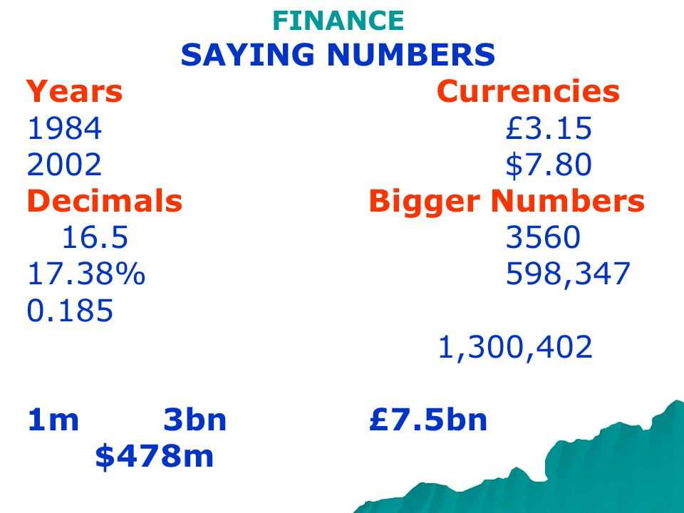 FINANCE SAYING NUMBERS YearsCurrencies 1984£3.15 2002$7.80 DecimalsBigger Numbers 16.53560 17.38%598,347 0.185 1,300,402 1m3bn£7.5bn $478m