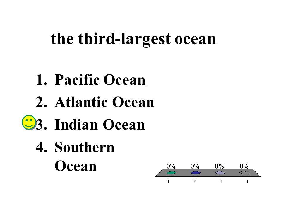 the third-largest ocean 1.Pacific Ocean 2.Atlantic Ocean 3.Indian Ocean 4.Southern Ocean