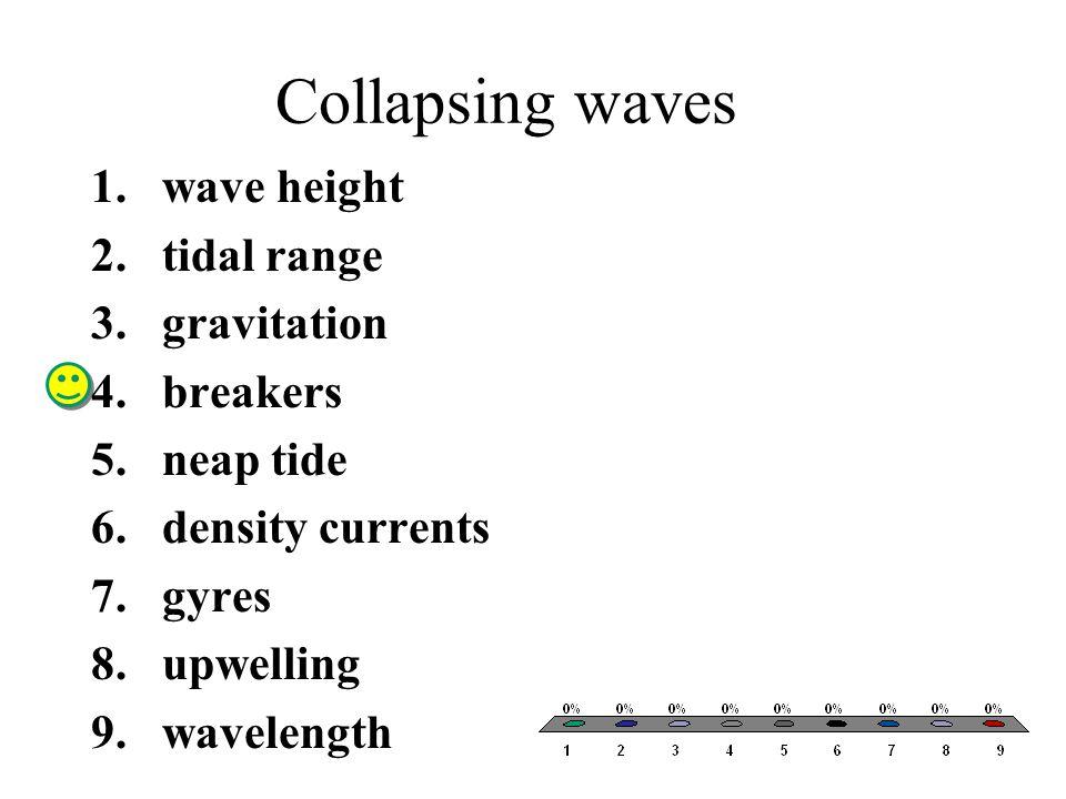 Collapsing waves 1.wave height 2.tidal range 3.gravitation 4.breakers 5.neap tide 6.density currents 7.gyres 8.upwelling 9.wavelength