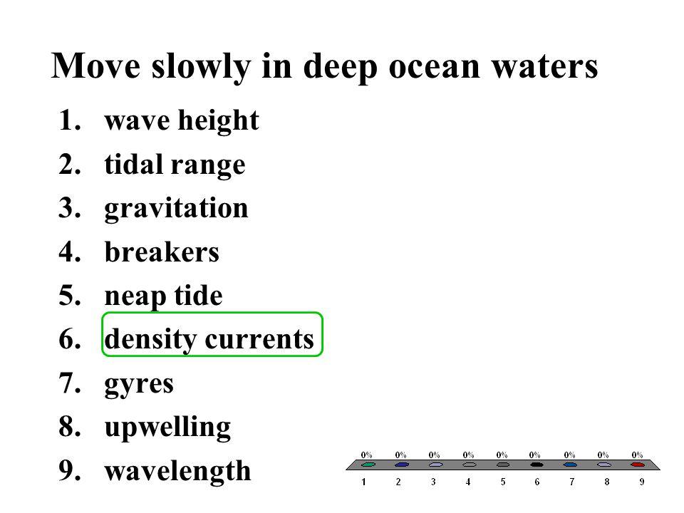 Move slowly in deep ocean waters 1.wave height 2.tidal range 3.gravitation 4.breakers 5.neap tide 6.density currents 7.gyres 8.upwelling 9.wavelength