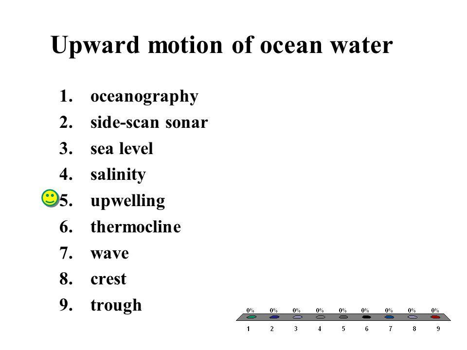 Upward motion of ocean water 1.oceanography 2.side-scan sonar 3.sea level 4.salinity 5.upwelling 6.thermocline 7.wave 8.crest 9.trough