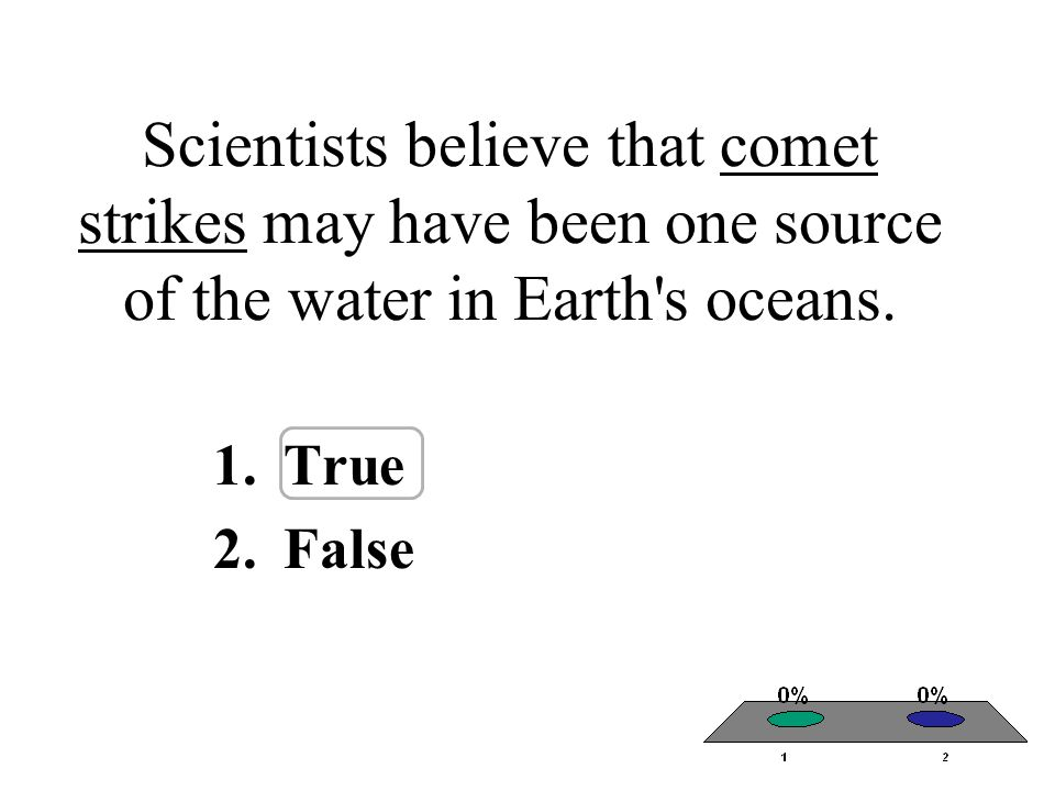 Scientists believe that comet strikes may have been one source of the water in Earth's oceans. 1.True 2.False
