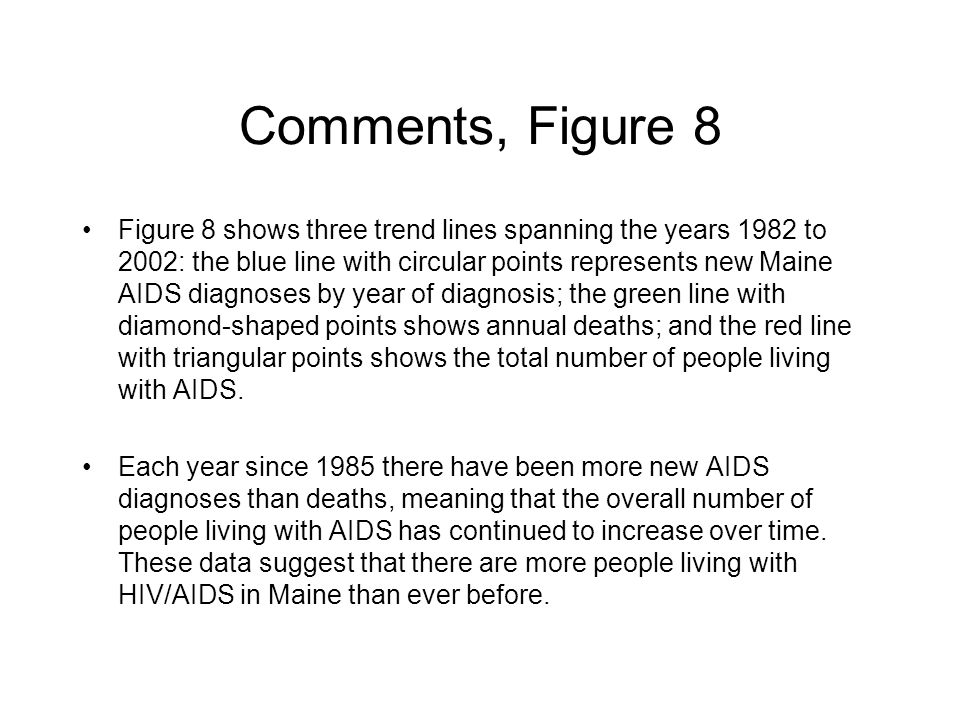 Comments, Figure 8 Figure 8 shows three trend lines spanning the years 1982 to 2002: the blue line with circular points represents new Maine AIDS diagnoses by year of diagnosis; the green line with diamond-shaped points shows annual deaths; and the red line with triangular points shows the total number of people living with AIDS.