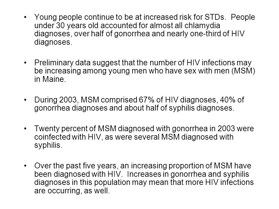 Young people continue to be at increased risk for STDs.
