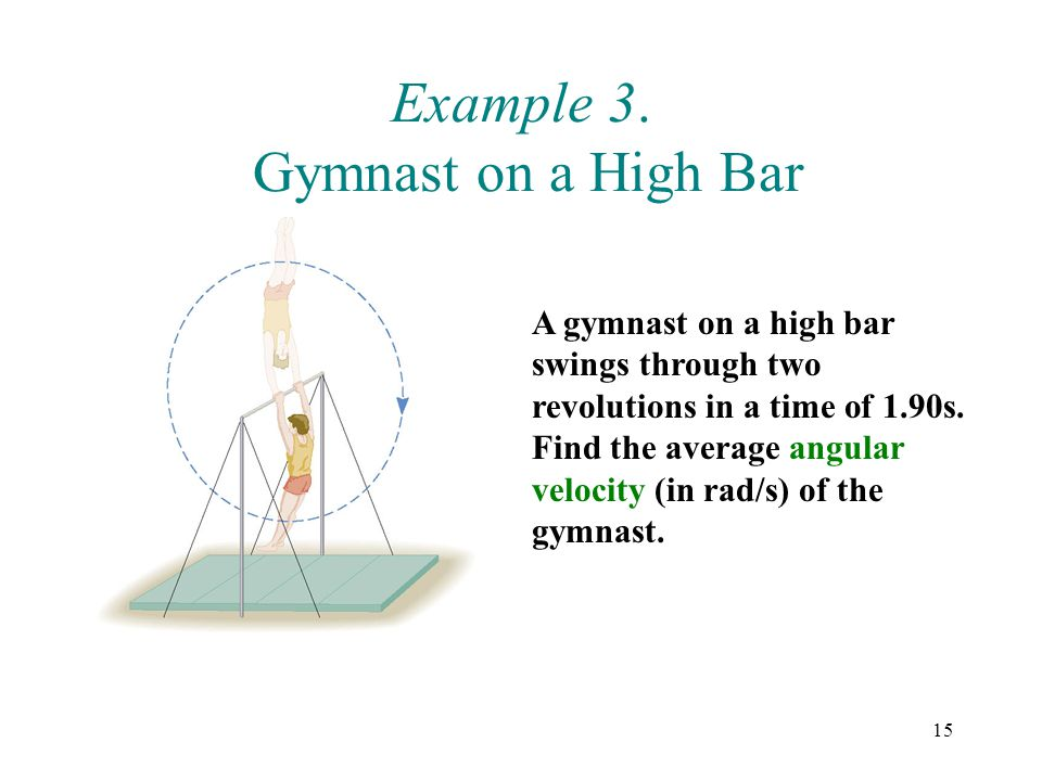 15 Example 3. Gymnast on a High Bar A gymnast on a high bar swings through two revolutions in a time of 1.90s. Find the average angular velocity (in r