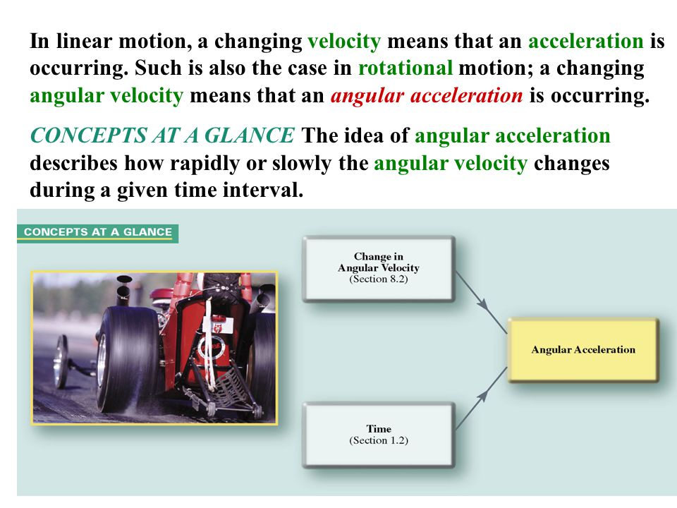 18 In linear motion, a changing velocity means that an acceleration is occurring. Such is also the case in rotational motion; a changing angular veloc