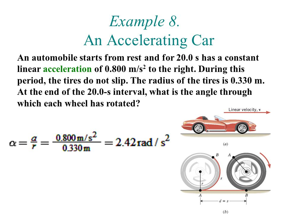 44 Example 8. An Accelerating Car An automobile starts from rest and for 20.0 s has a constant linear acceleration of 0.800 m/s 2 to the right. During
