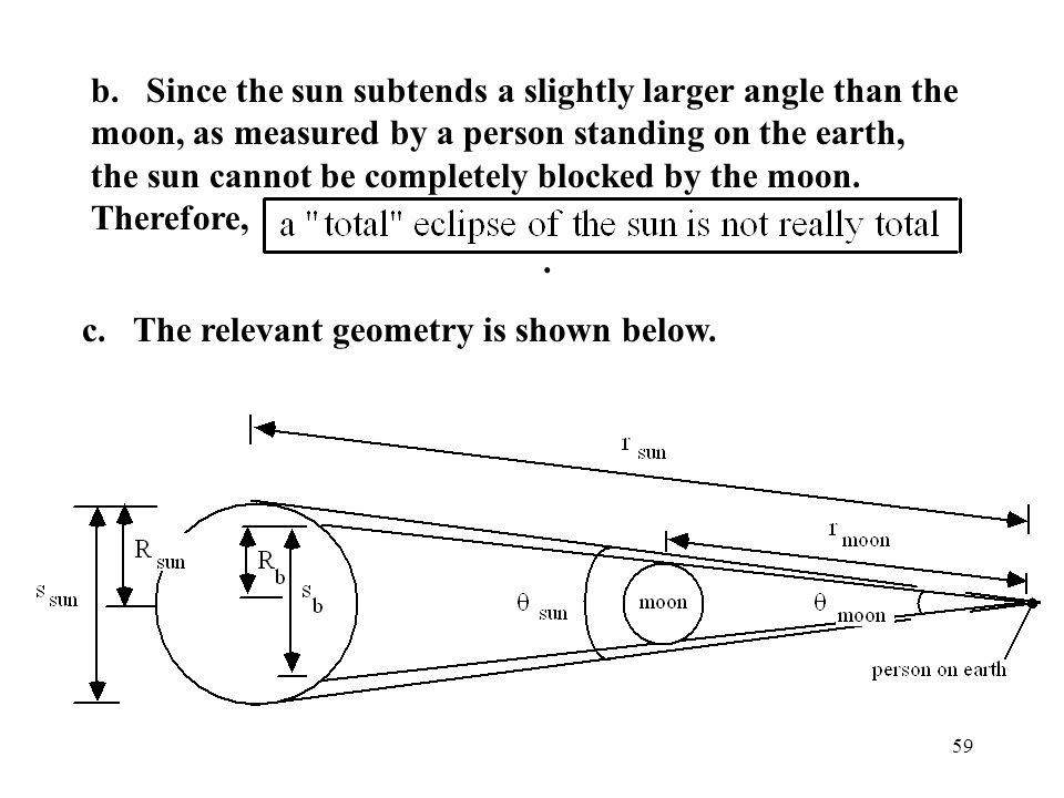 59 b. Since the sun subtends a slightly larger angle than the moon, as measured by a person standing on the earth, the sun cannot be completely blocke