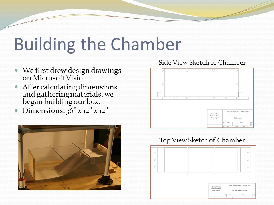 Building the Chamber We first drew design drawings on Microsoft Visio After calculating dimensions and gathering materials, we began building our box.