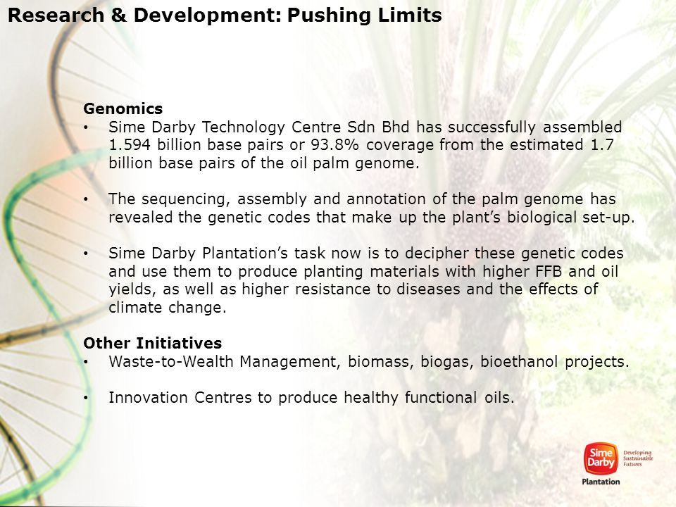 Genomics Sime Darby Technology Centre Sdn Bhd has successfully assembled 1.594 billion base pairs or 93.8% coverage from the estimated 1.7 billion bas