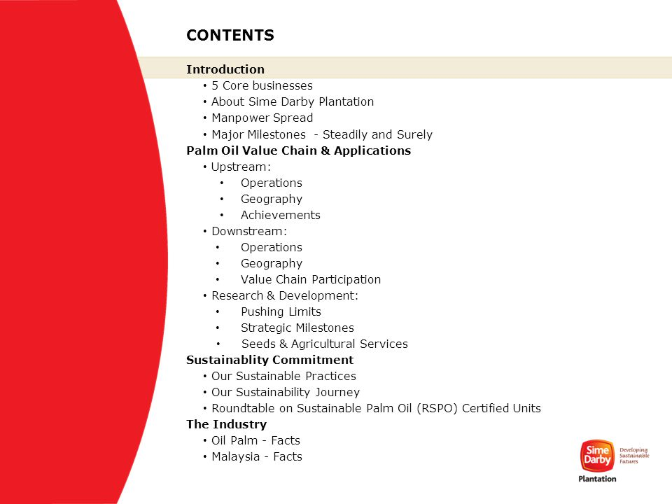 CONTENTS Introduction 5 Core businesses About Sime Darby Plantation Manpower Spread Major Milestones - Steadily and Surely Palm Oil Value Chain & Appl