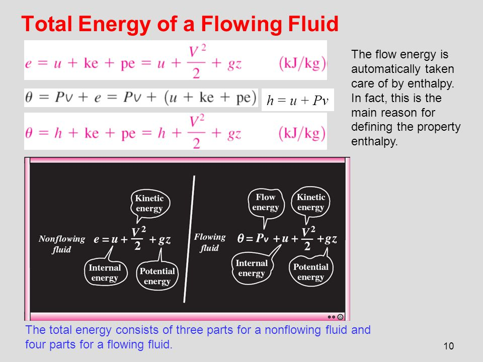 10 Total Energy of a Flowing Fluid The total energy consists of three parts for a nonflowing fluid and four parts for a flowing fluid. h = u + Pv The