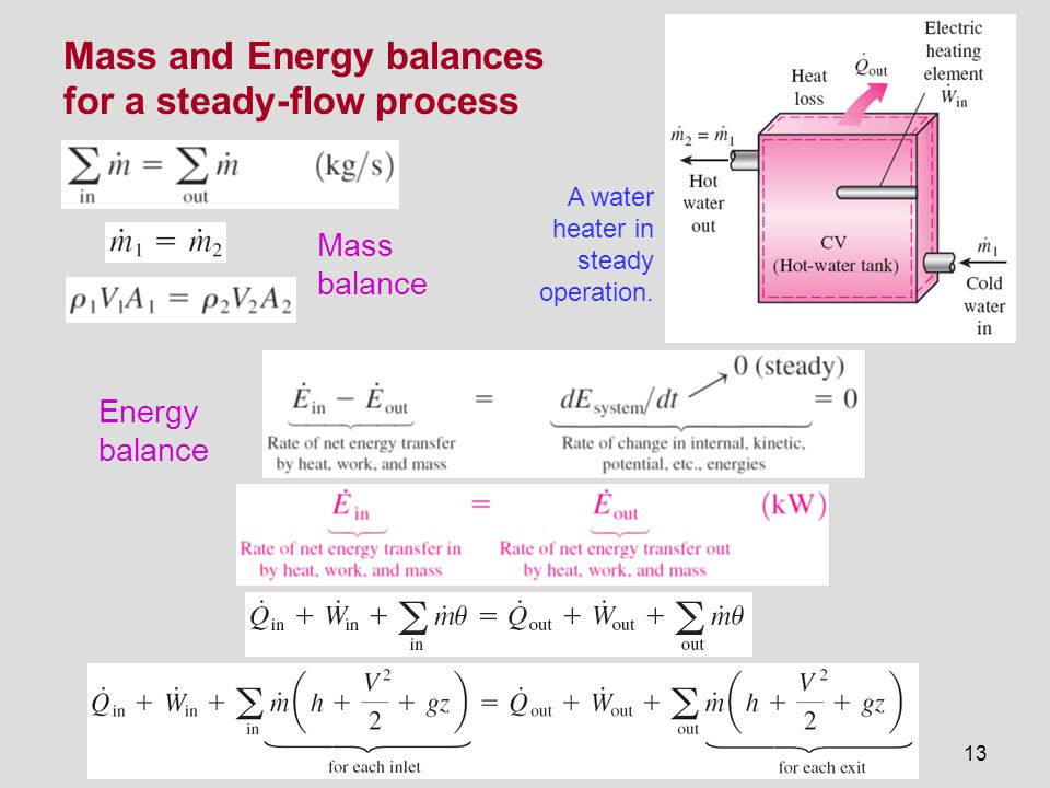 13 Mass and Energy balances for a steady-flow process A water heater in steady operation. Mass balance Energy balance