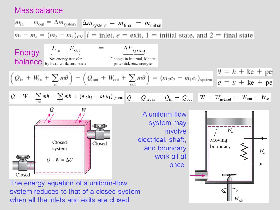 23 Mass balance Energy balance The energy equation of a uniform-flow system reduces to that of a closed system when all the inlets and exits are close
