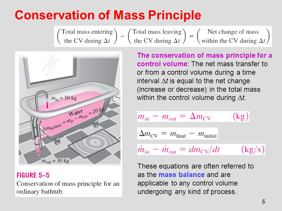 6 the time rate of change of mass within the control volume plus the net mass flow rate through the control surface is equal to zero.